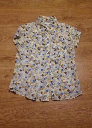 Стильная яркая летняя блуза рубашка/ котон /м