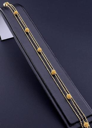 Позолоченный браслет на ногу с бусинами