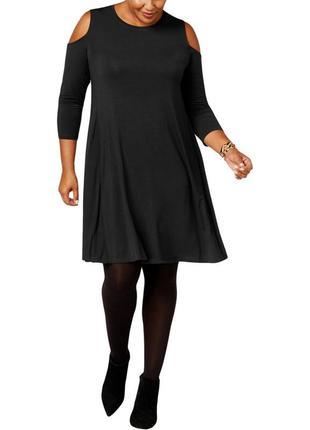 Черное платье прямого кроя с вырезами по рукавам, батал 2х ( 54-56 рр)