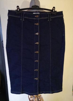 Джинсовая юбка-карандаш,миди