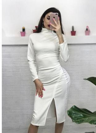 Шикарне біле плаття міді по фігурі платье гольф миди xs s