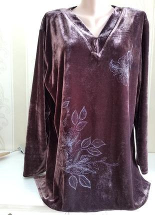 Бархатный пуловер шоколадного цвета с отливом.