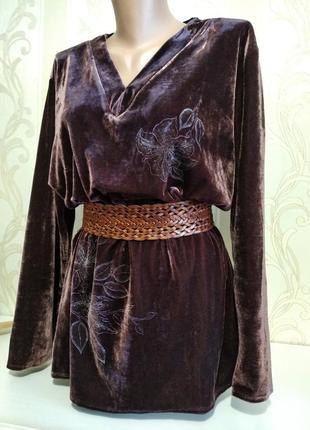 Бархатный пуловер шоколадного цвета с отливом.5 фото