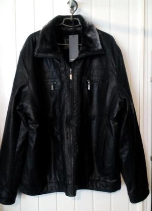 Мужская кожанная куртка с мехом очень большого размера