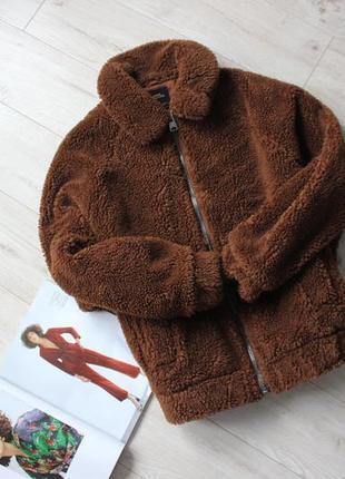 Крутая трендовая куртка тедди шубка коричневая хс с