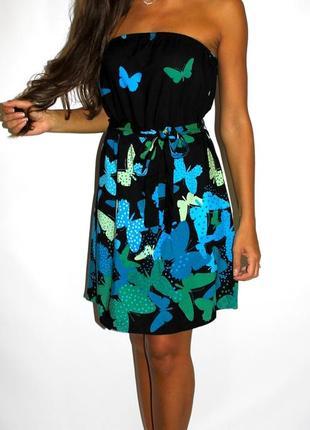 Черное платье в бабочках h&m ( с биркой ) --срочная уценка всех платьев --