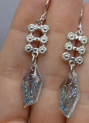 Серебряные #серьги #висюльки, #капля, #блеск, #голубой, #срібні_сережки, #925