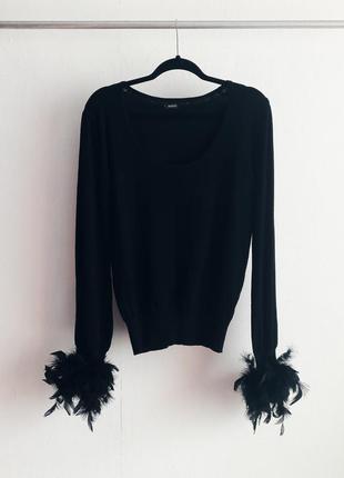 Реглан джемпер свитер кофта длинный рукав перья sassy