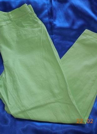 Яркие салатовые джинсы высокая посадка.
