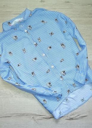 Красивая рубашка для девочки с собачками