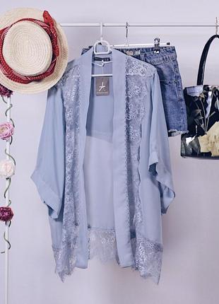 Шикарний ажурний кардиган-кімоно, пильно голубого кольору