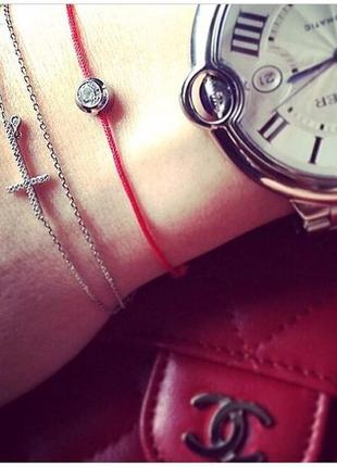 Красная нить с цирконием, 925