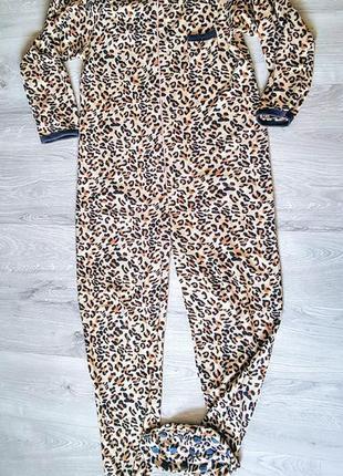 Клевый кигуруми комбинезон пижама флисовый леопардовый принт с ножками e6b5ec1ce538a