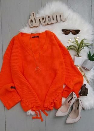 Актуальный объемный свитер яркого оранжевого цвета со шнуровкой оверсайз №90