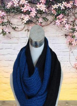 🌹🌹модный 8 % мохер 10 % шерсть шарф  хомут  синий с черным michael kors 🌹🌹🌹