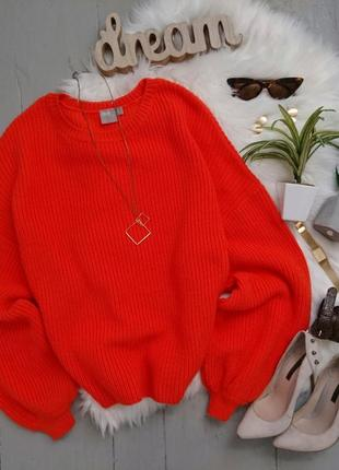 Актуальный объемный свитер яркого оранжевого цвета рукав с напуском №146