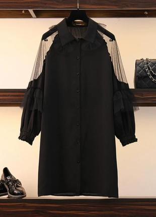 Чёрное оригинальное платье -блузка1 фото