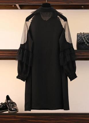 Чёрное оригинальное платье -блузка2 фото