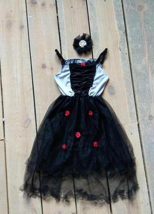 Карнавальное платье на хэллоуин 9-10 лет мертвая невеста колдунья ведьма