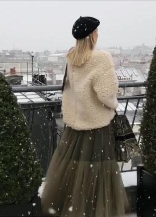 Трендовая фатиновая длинная юбка макси с шелковым подкладом хаки балетная