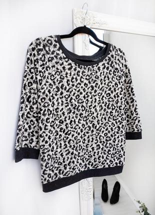 Трендовый джемпер с леопардовым принтом new look из фактурной ткани