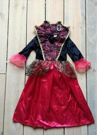 Карнавальное платье леди вамп вампирша 7-8 лет с с клыками