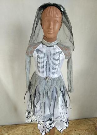 Карнавальное платье  мертвая невеста 4-6 лет на хэллоуин