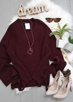 Актуальный объемный свитер с завязками №152