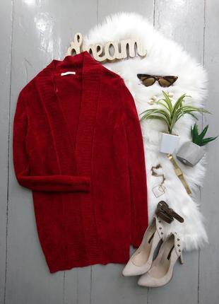 Актуальный красный велюровый кардиган №61