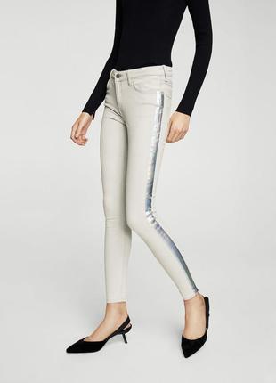 Белые джинсы с лампасами от mango, 36р, испания, оригинал