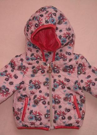 Яркая  розовая курточка на весну рост 62
