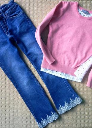 Стильный комплект джинсы  с кружевом  h&m 4-5 и джемпер
