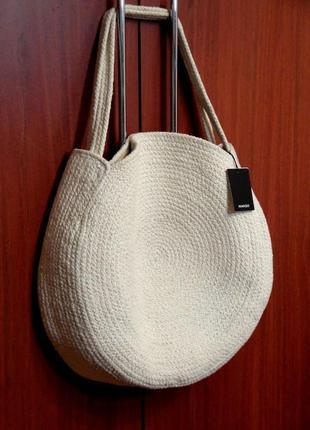 Новая стильная большая круглая плетеная сумка шоппер лимитированная коллекция mango