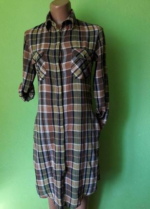 Стильное платье рубашка с натуральной ткани