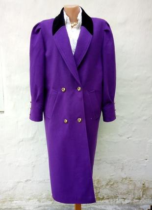 Красивое,роскошное шерстяное теплое фиолетовое пальто,ворот черный бархат,oversize.