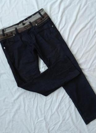 Джинсовые брюки рванки с молниями, джинсы, р-р l, штаны, вельветовые