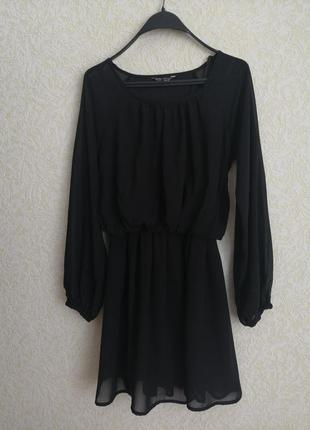 Черное шифоновое платье сукня плаття