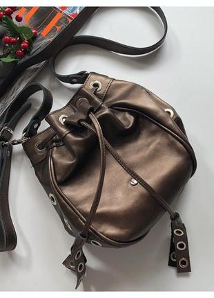 Трендовая кожаная сумка мешок rylko