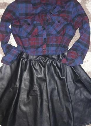 Платье стильное в клетку с кожаной юбкой atmosphere