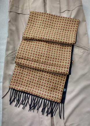 Роскошный двухсторонний большой шарф палантин шелк шерсть