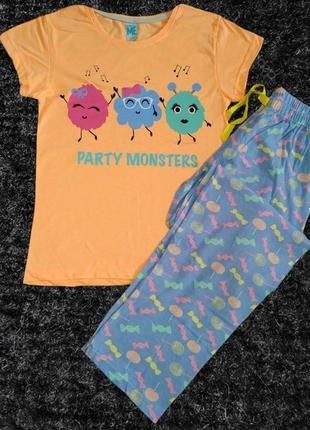 """Женская хлопковая пижама """"party monsters"""""""