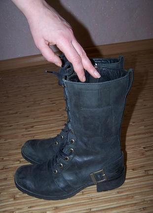 Сапоги модные на шнуровке timberland 100%кожа