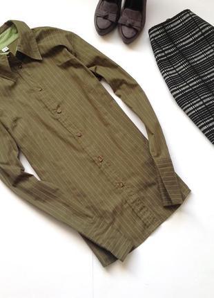 Рубашка цвета хаки в полоску