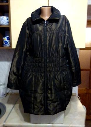 Куртка парка деми, цвет шоколад с блеском,  типа жатки, капюшон