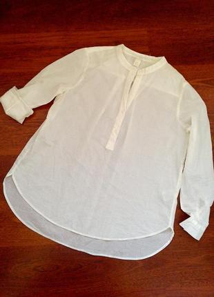 40р. кремова рубашка-блузка-туника, хлопок h&m