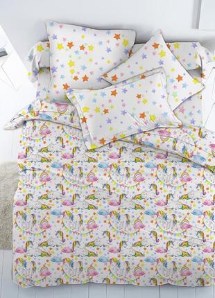 Детское постельное белье с единорогами, в кроватку, полуторное, на резинке