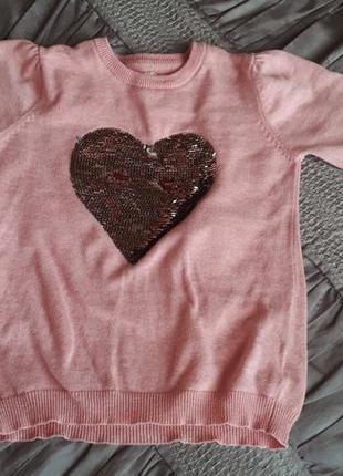 Красивый свитер в пайетках на 8-9 лет, 134 см, young dimension