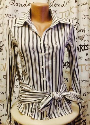 Классическая блуза на завязке из легкой ткани всего 70 грн