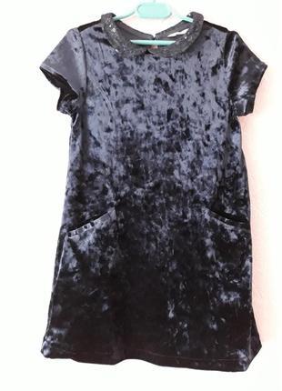 Бархатное платье h&m на 4-6 лет