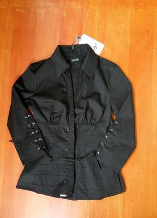 Брэндовая дизайнерская чёрная блуза хлопок diego reiga франция